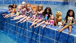 POOL ! Elsa and Anna toddlers - Barbie - boat ride - floaties - swim - water fun - splash