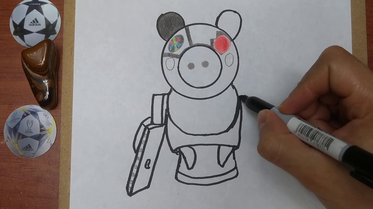 Como Dibujar Y Pintar A Robby De Piggy Roblox How To Draw And