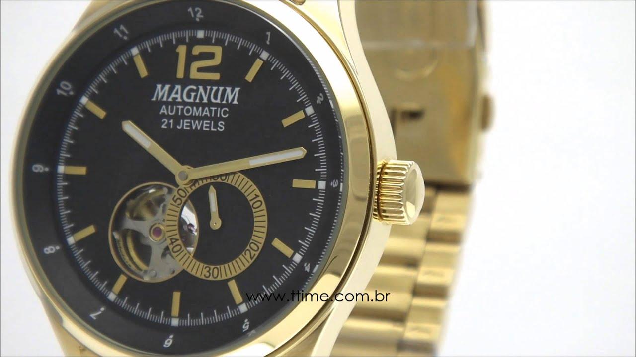 Relógio Magnum Automático 21 Jewels MA33906U - YouTube 91ff1e47df
