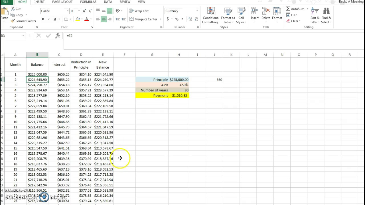 mortgage amortization in excel