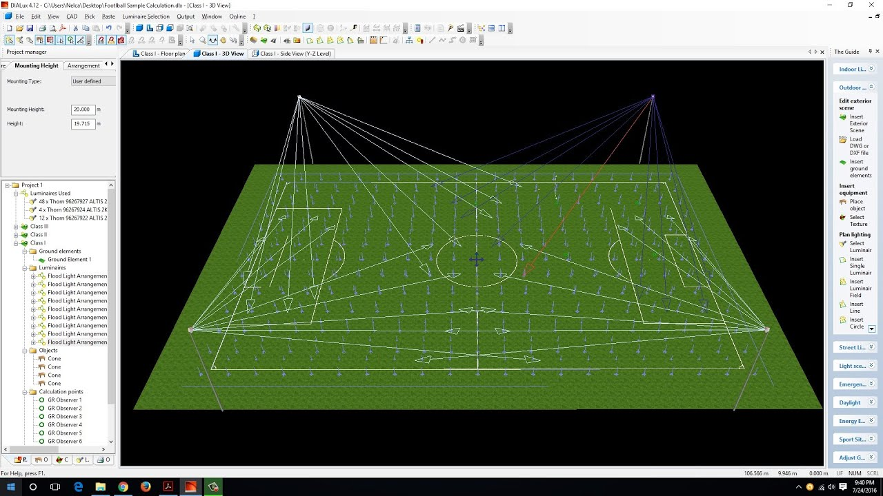 Football Lighting Design Calculation Part 1 Youtube