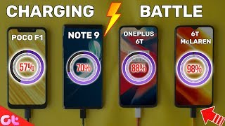 Ultimate Fast Charge Test | OnePLus 6T McLaren vs Poco F1 vs Note 9 vs OnePlus 6T