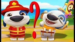 Мой Говорящий Хэнк костюм Космонавта и костюм Пожарного  в игре для детей My Talking Hank