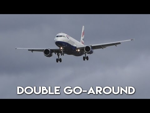 [DOUBLE GO-AROUND | Storm Doris] British Airways Airbus A320 at London Heathrow