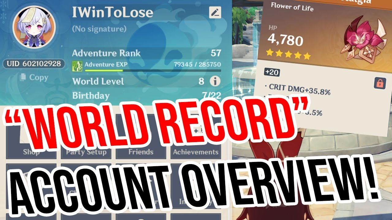 """Download """"WORLD RECORD"""" Capable Account Overview (trying something new plze dont hurt me) Genshin Impact"""