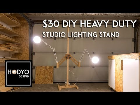 $30 DIY Heavy Duty Wood Light Stand