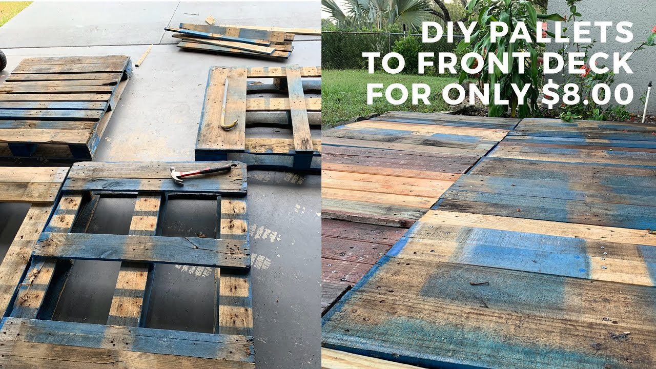 how to build a pallet deck diy pallet deck any beginner can do for cheap woodworking fun