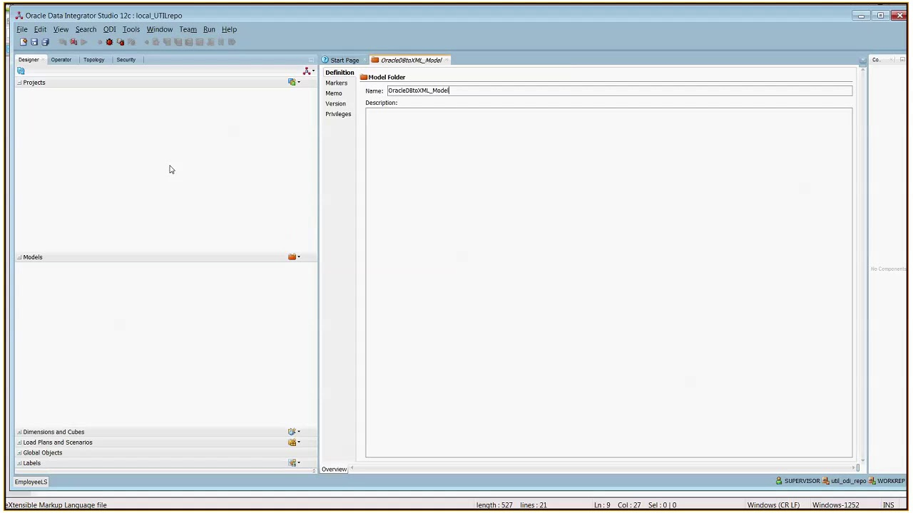 Create XML file from Oracle DB using ODI 12C