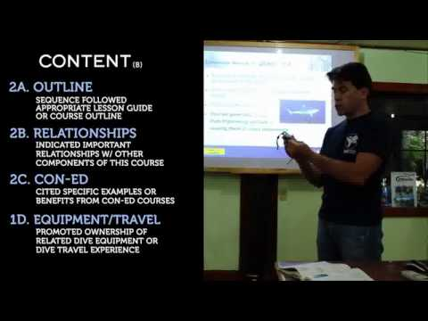 Prescriptive teaching presentation in the PADI IDC
