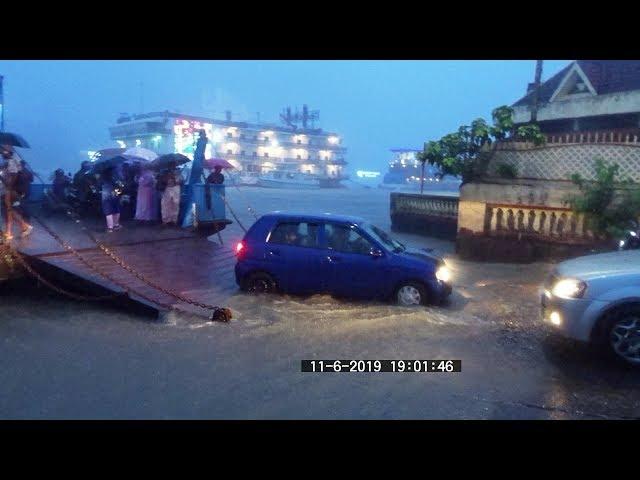 Rains, Miramar beach, Panaji,  River, Ferryboat etc 11.6.19