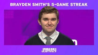 Brayden Smith's 5-Game Streak | JEOPARDY!