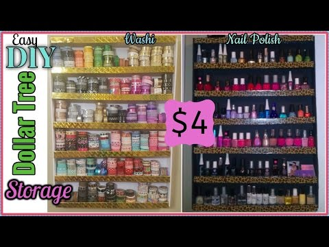 DIY DOLLAR TREE | WASHI & NAIL POLISH RACK | ORGANIZATION & STORAGE