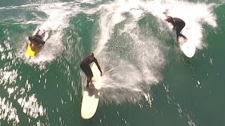 Surfing Malibu Beach, California with a Drone in 4K