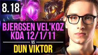 Bjergsen - VEL'KOZ vs Dun - VIKTOR (MID) | KDA 12/1/11, Godlike | NA Challenger | v8.18