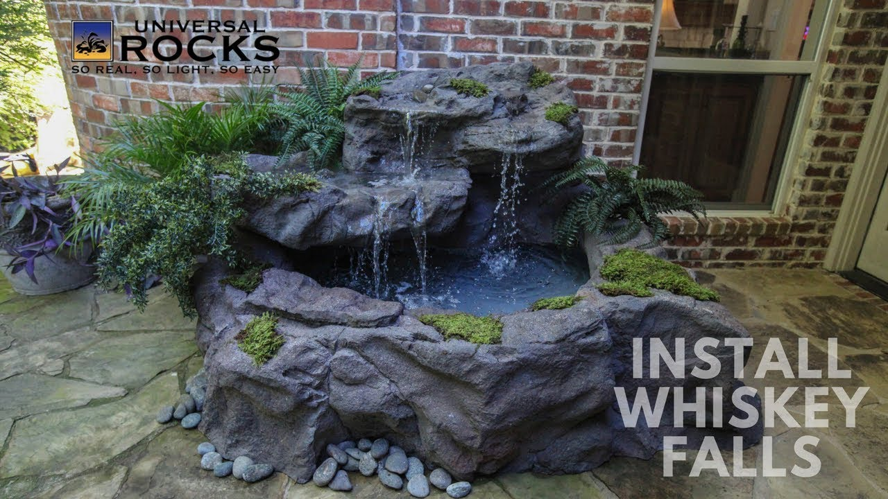 Universal Rock S Whiskey Falls Patio Pond Set Up Diy Install