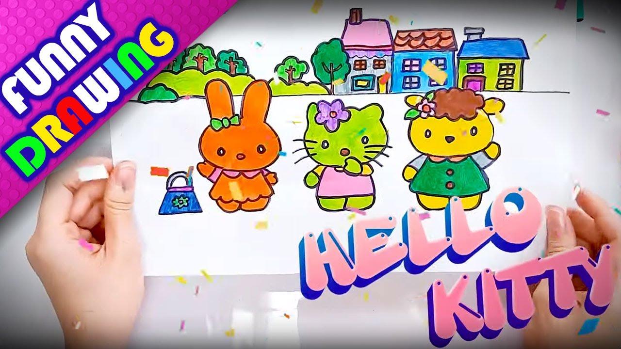 How to draw Hello Kitty step by step easy - Dạy bé vẽ và tô màu Hello Kitty