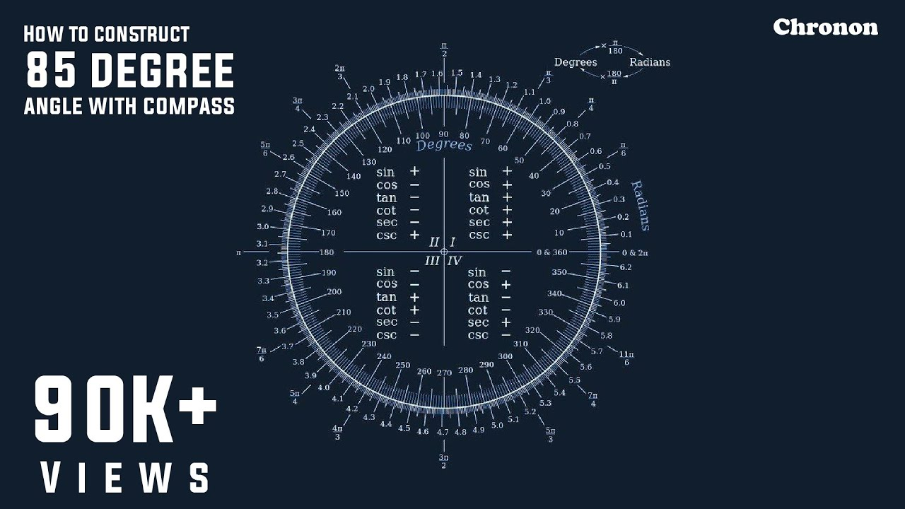 how to construct 85 degree angle with compass youtube