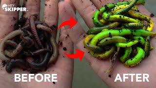 Making NEON GREEN GLOW WORMS! Best Fishing Bait