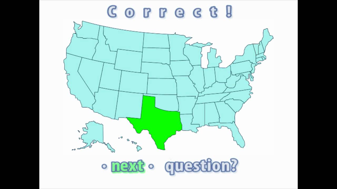 Map Of Texas Quiz.Interactive United States Map Quiz Correct Texas Location