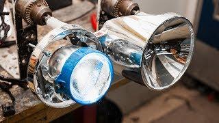 Установка линз в рефлекторные фары. Основные способы: гайка / врезка / вклейка.