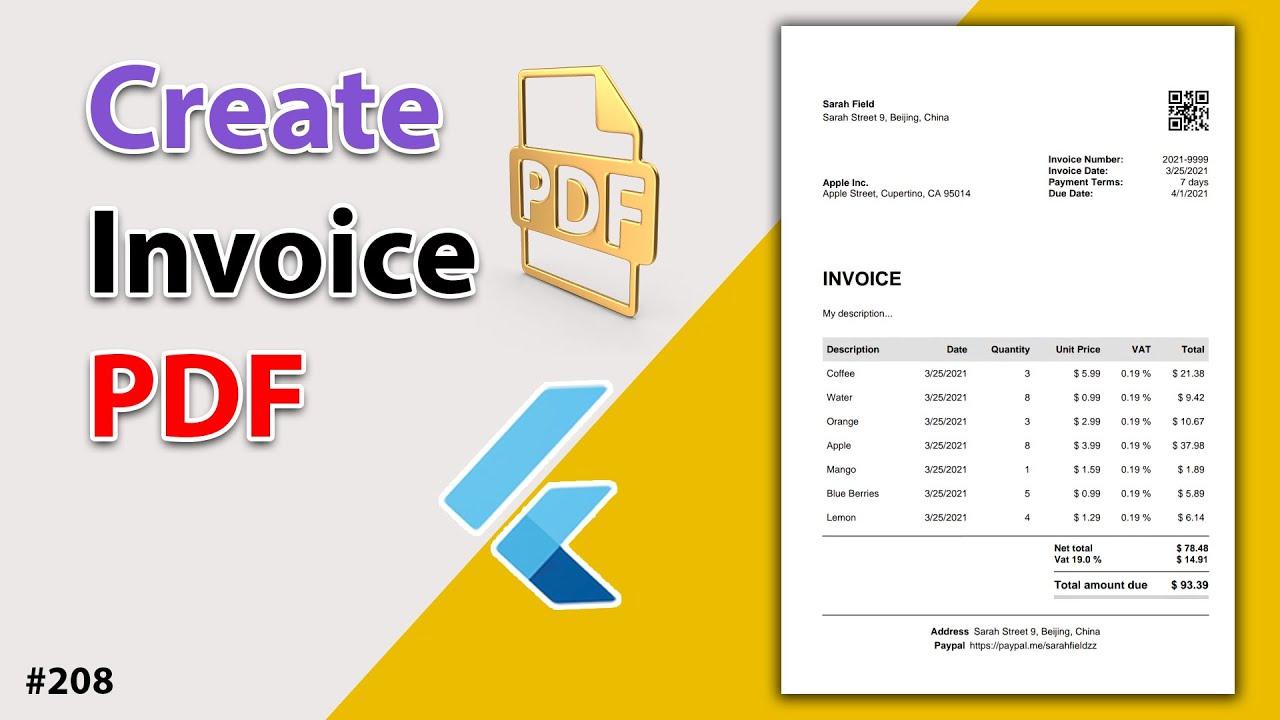 Flutter Tutorial - Create Invoice PDF Document