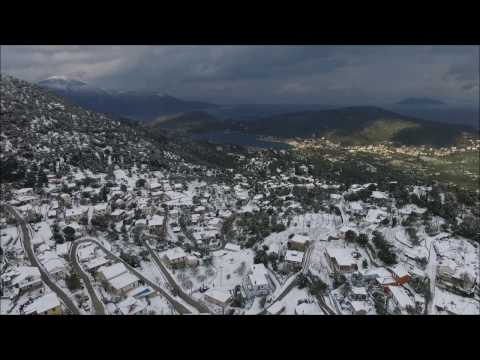 Watch aerial footage of Ithaca Greece covered in snow