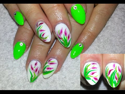 Neon Green Almond Shaped Nails With Tulip Flowers - YouTube