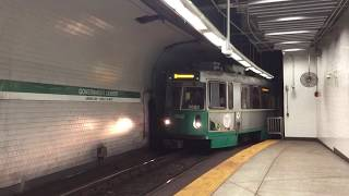 MBTA Green line westbound train arriving at Government Center