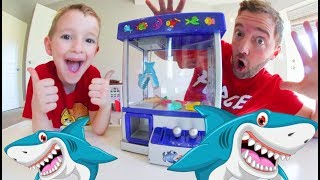 Father & Son PLAY SHARK CLAW GAME! / Chomp The Fish!