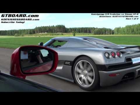 HD : Nissan GTR vs Koenigsegg CCR Evolution Race 1/2