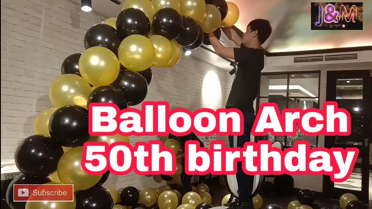 Download Ballon arch Gold and black l how to make bigger balloon arch l DIY 50th birthday party l Vikings jaz