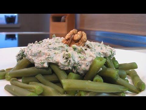 Стручки фасоли с ореховым соусом видео рецепт.Книга о вкусной и здоровой пище