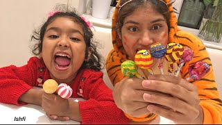 Pre School Toddler Ishfi and Aunty Unpacking Yummy Colorful Lollipop