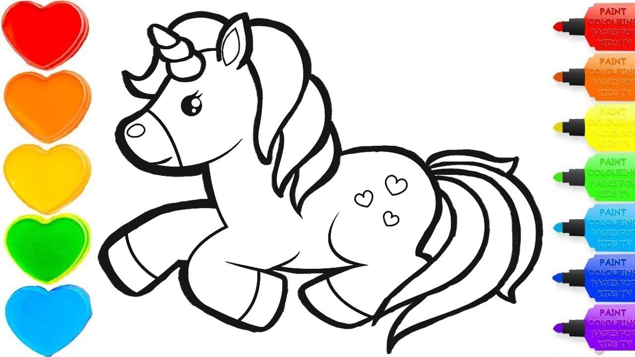unicorn glitter drawing & coloring -  #colorsforchildren & #coloring& #kidscartoon