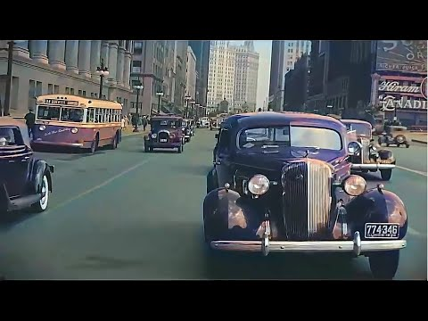New York & Chicago (1930s-1940s) in color, Driving Downtown [60fps, Remastered] w/added sound