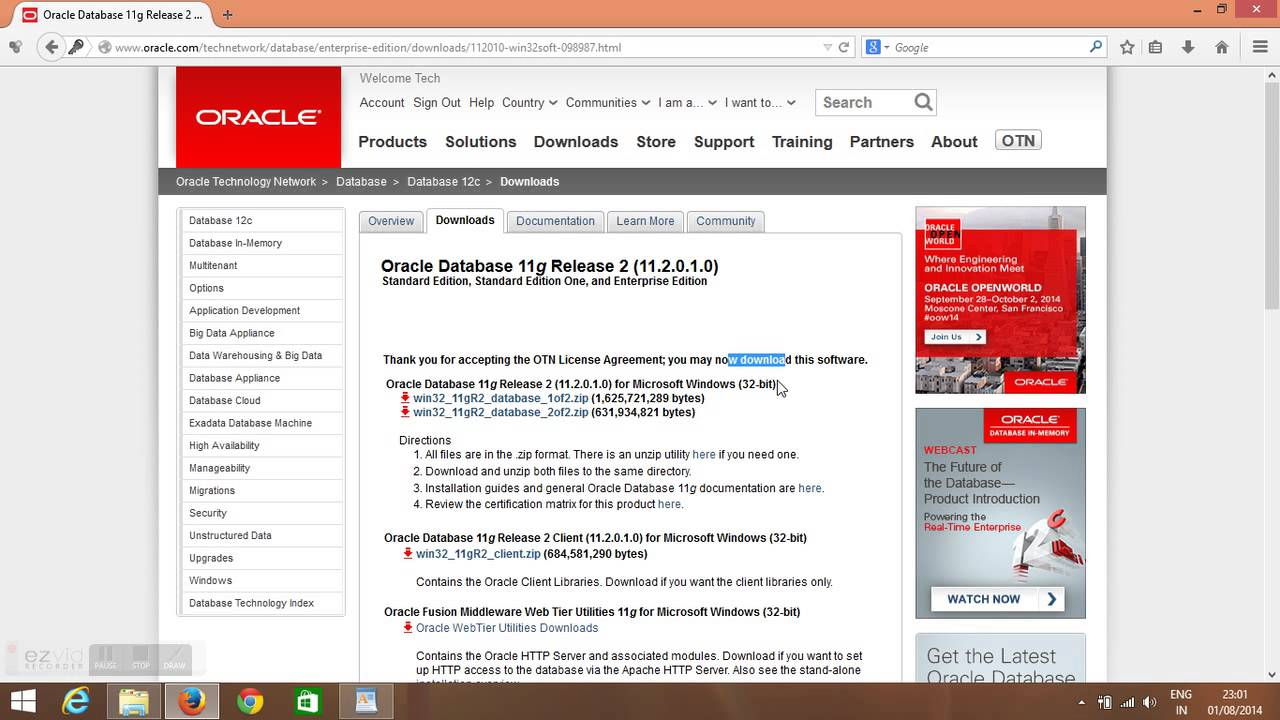 oracle 10g gratuit pour windows 7 32 bits