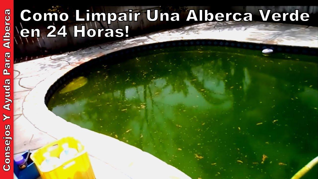 Como limpiar una alberca verde parte una de dos youtube for Como limpiar fondo piscina