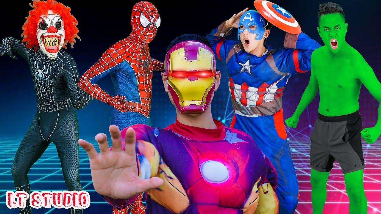 LT Studio: Team Spiderman X Warriors Nerf Guns Fight Criminal Group Army Siren Head of Killer