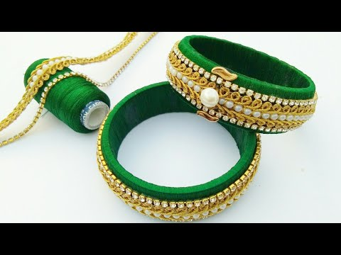 How To Make Designer Silk Thread Fancy Side Bangles //How To Make Silk Thread Bangles  // DIY