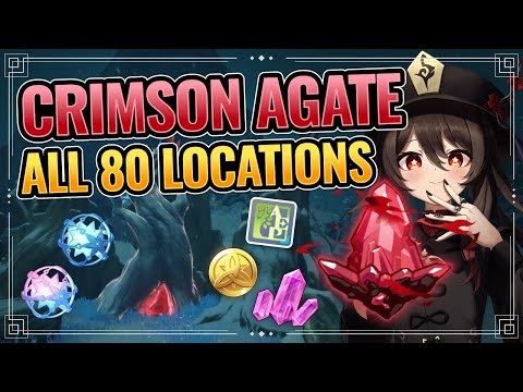 All 80 Crimson Agates Locations  (WITH TIMESTAMPS + DETAILED GUIDE!) Genshin Impact Dragonspine