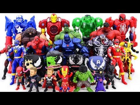 Power Rangers & Marvel Avengers Toys Pretend Play | Super Hero vs Hulk Red Hulk Army