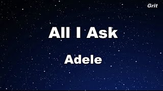 All I Ask - Adele Karaoke 【No Guide Melody】 Instrumental