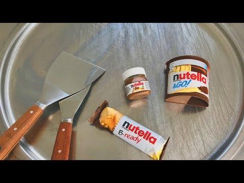 Ice Cream Rolls - nutella spread, nutella B-ready and nutella &GO! chocolate ice cream thai food