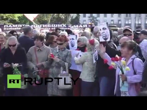 Ukraine: Relatives of Odessa massacre victims mourn at Trades Union House