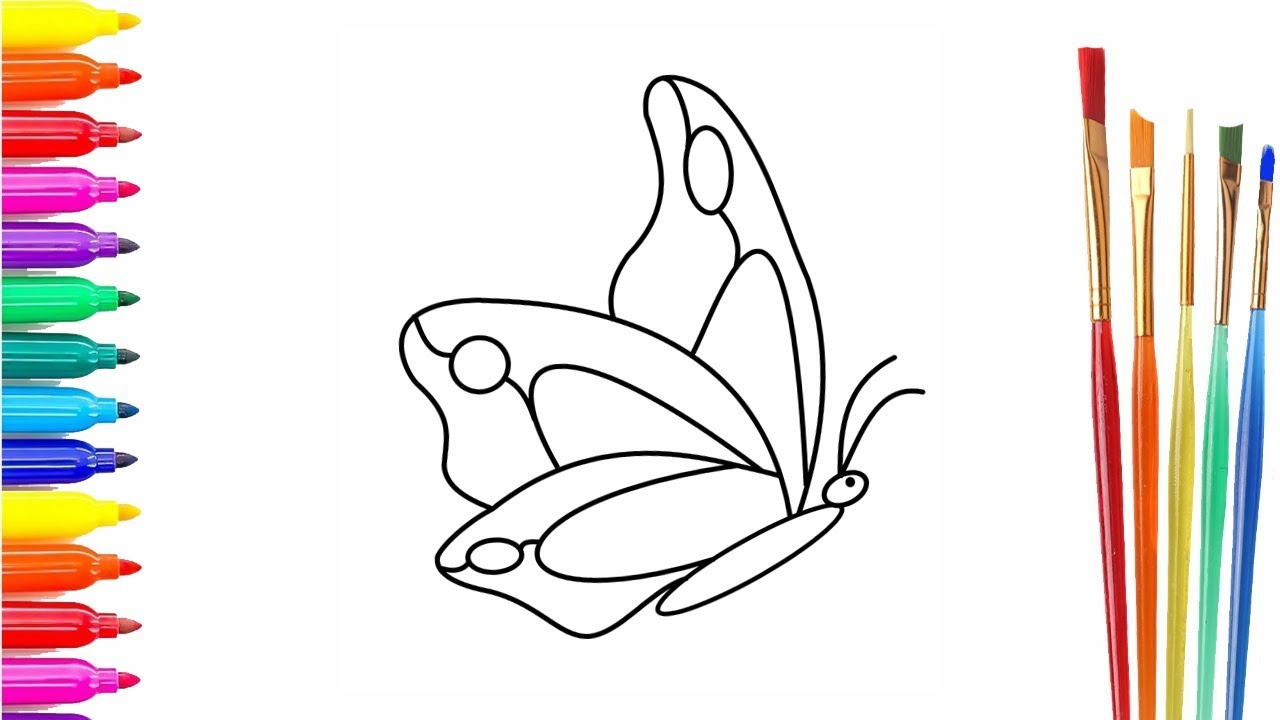 Simple Example How to Draw Butterfly Coloring Pages Animals for ...