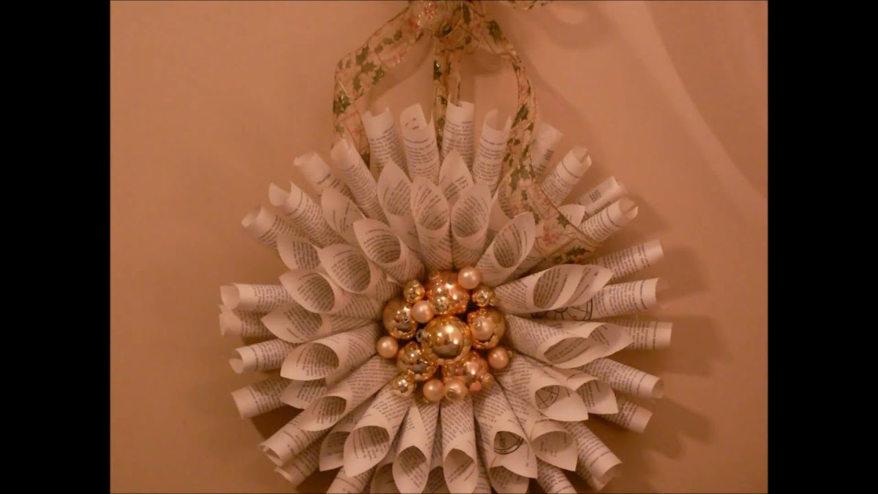 Holiday Wreath Made from Old Book Pages  YouTube