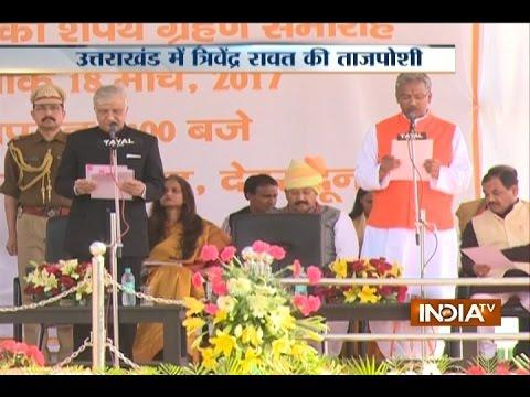 Former RSS pracharak Trivendra Singh Rawat sworn in as CM of Uttarakhand