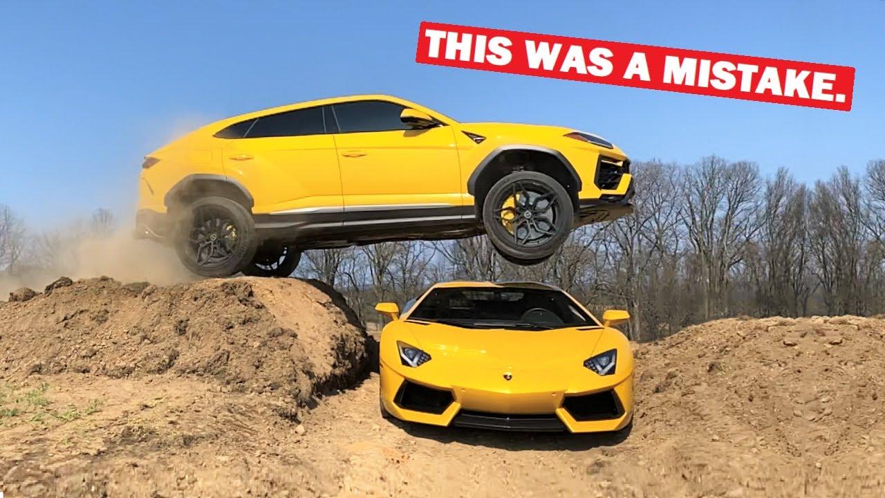 Download JUMPING My Lamborghini Urus OVER My Lamborghini Aventador!!! *MISTAKES WERE MADE*