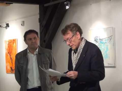 Eröffnung der Ausstellung von Erwin Kastner durch Dr. Lötsch im Oskar Kokoschka Haus