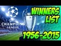 UEFA Champions League Winners List 1956 - 2015 .